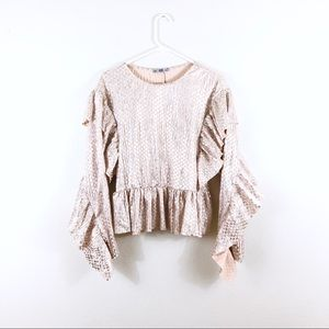 Zara Pink Metallic Checkered Crinkle Ruffle Blouse